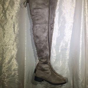 Shoes - New Faux Suede Back Lace-up Thigh High Boots!